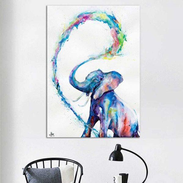 Tableau éléphant bleu
