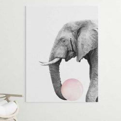 Tableau éléphant chewing gum
