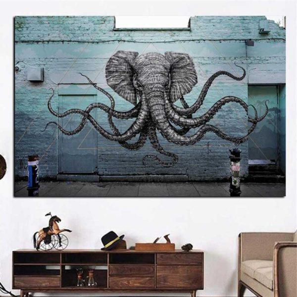 Tableau éléphant street art