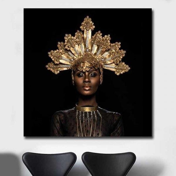 Tableau femme africaine bijoux
