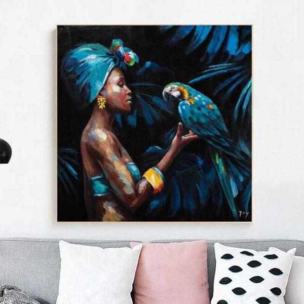 Tableau femme africaine et perroquet