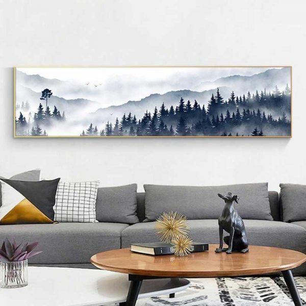 Tableau forêt et brume
