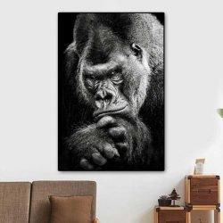 Tableau gorille noir et blanc