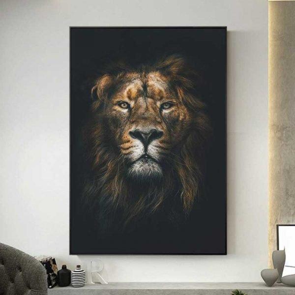 Tableau lion fond noir