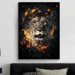 Tableau lion noir et or