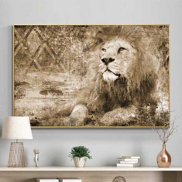 Tableau lion vintage