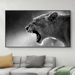 Tableau lionne noir et blanc