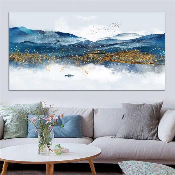 Tableau montagnes bleues