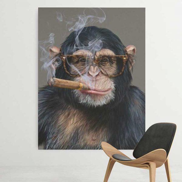 Tableau singe qui fume