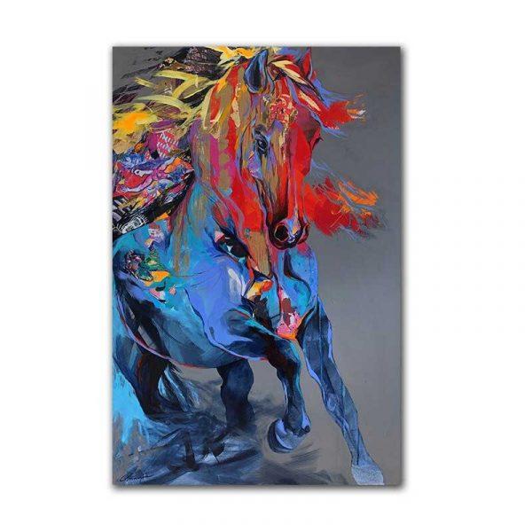 Tableau sur toile cheval abstrait