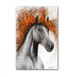 Tableau sur toile cheval orange