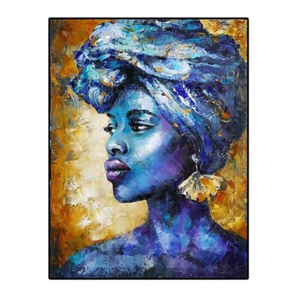 Tableau sur toile femme bleue