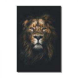 Tableau sur toile lion fond noir