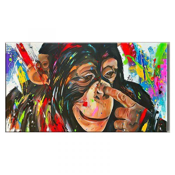 Tableau sur toile peinture singe