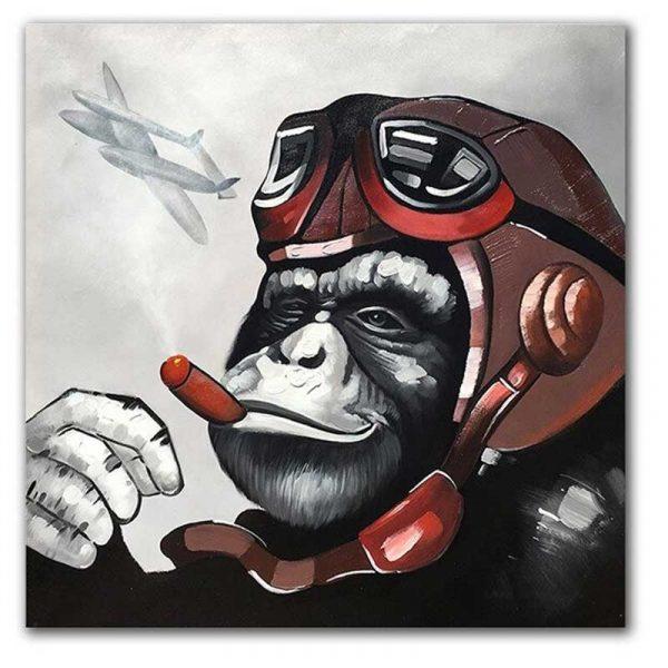 Tableau sur toile singe aviateur