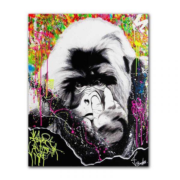 Tableau sur toile singe coloré
