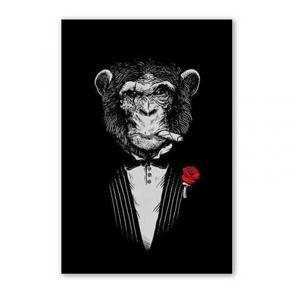 Tableau sur toile singe mafia