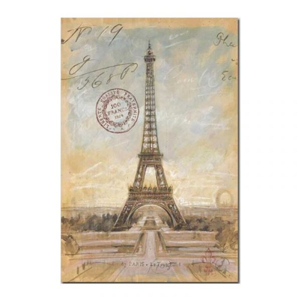 Tableau sur toile tour Eiffel vintage