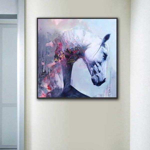 Tableau tête de cheval blanc