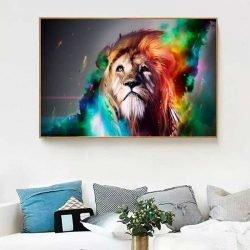 Tableau tête de lion multicolore