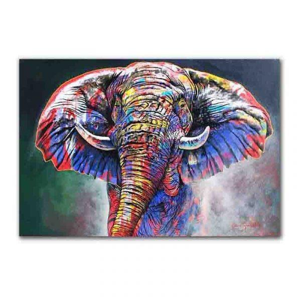 Toile éléphant multicolore