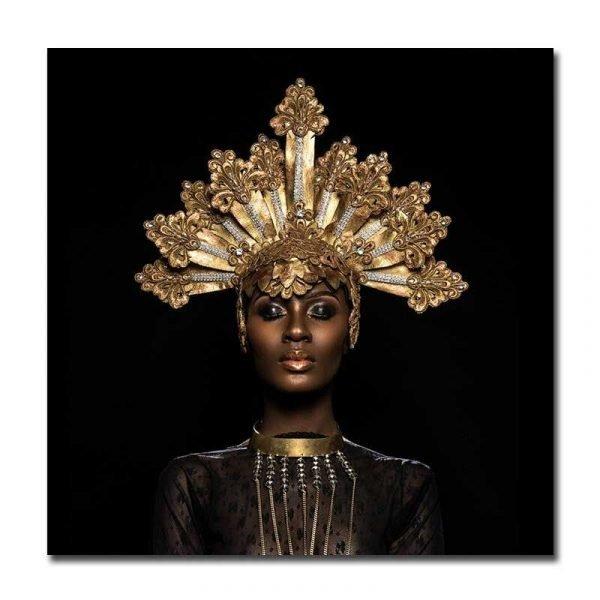 Toile femme africaine bijoux