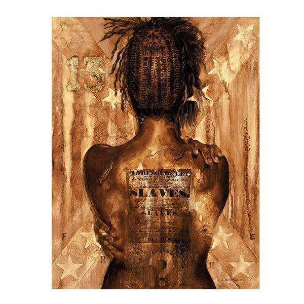 Peinture sur toile femme africaine de dos