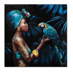 Toile femme africaine et perroquet