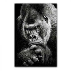 Toile gorille noir et blanc