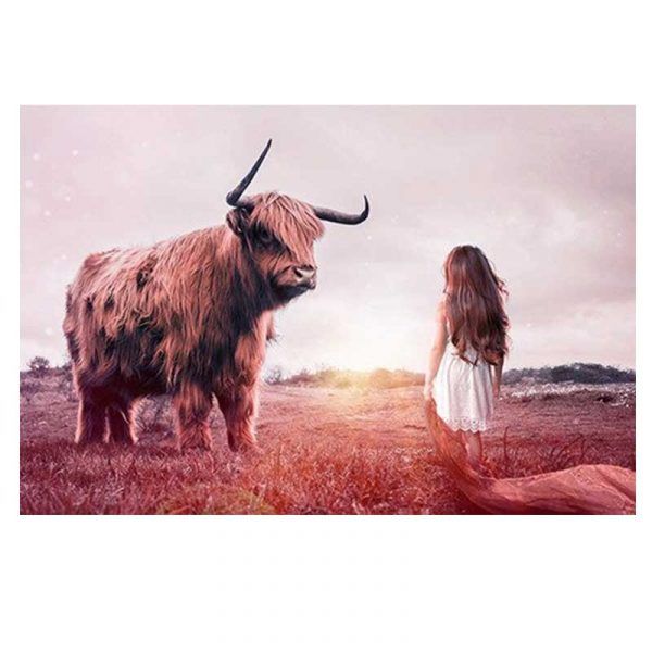 Toile Highland cow