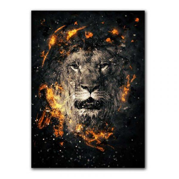 Toile lion noir et or