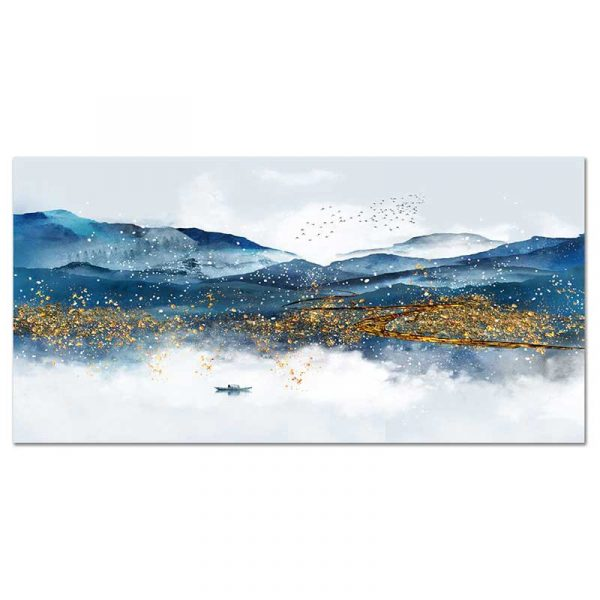 Toile montagnes bleues