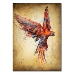 Tableau sur toile perroquet coloré