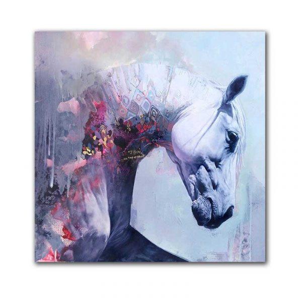 Toile tête de cheval blanc
