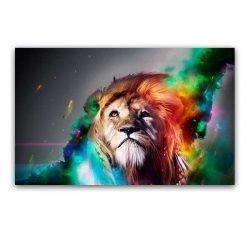 Toile tête de lion multicolore