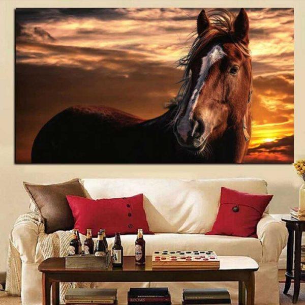 Tableau cheval marron