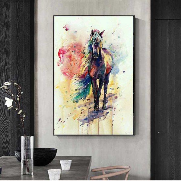 Tableau déco cheval coloré