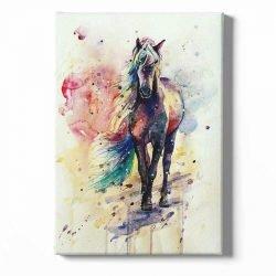 Tableau sur toile cheval coloré