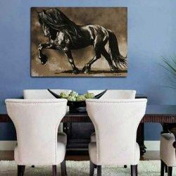 Peinture déco cheval noir