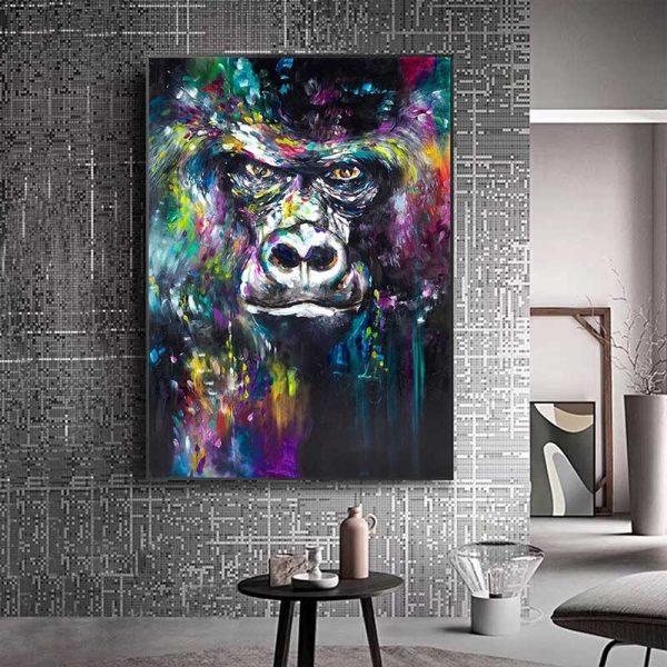 Peinture déco tête de gorille