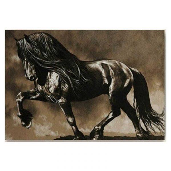 Peinture sur toile cheval noir