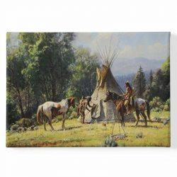 Peinture sur toile chevaux indiens