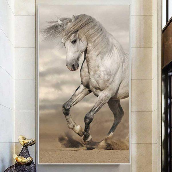 Tableau cheval crinière au vent