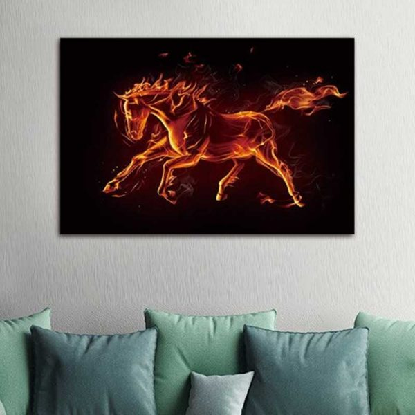 Tableau cheval rouge