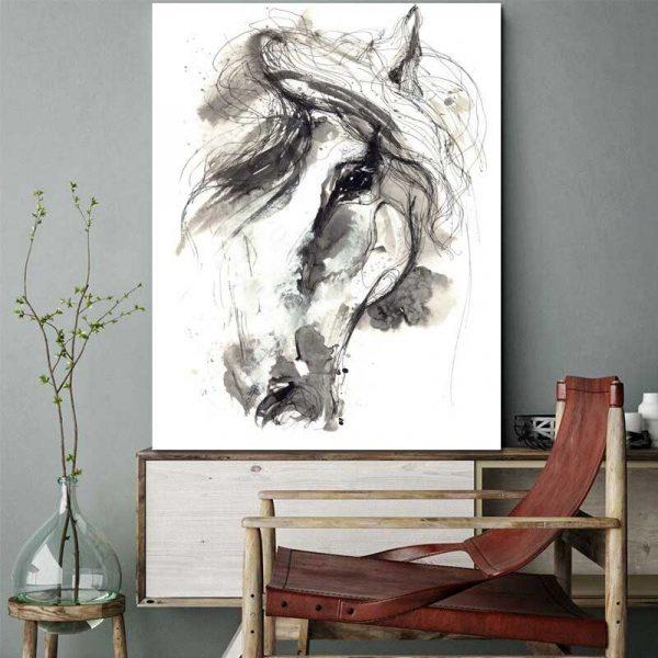 Tableau déco cheval dessin