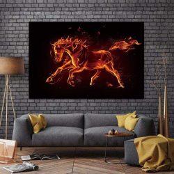Tableau déco cheval rouge