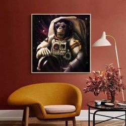Tableau déco singe astronaute