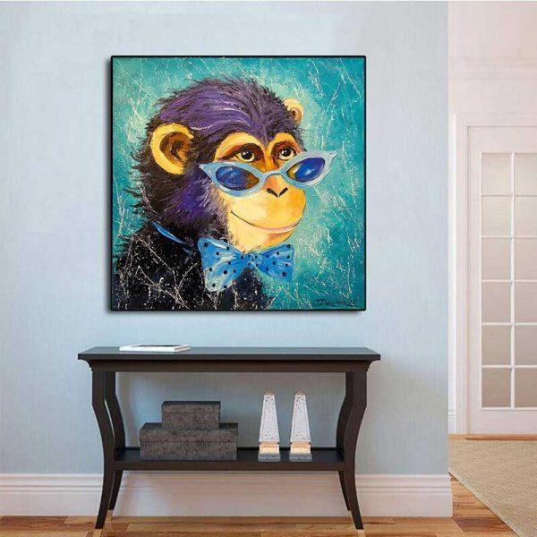 Tableau déco singe bleu