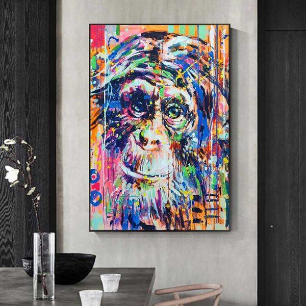 Tableau déco singe en couleur