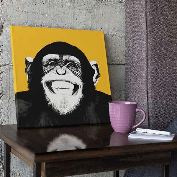 Tableau déco singe jaune